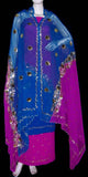 DEEPPINK-BLUE GEORGETTE CREPE UNSTITCHED SALWAR KAMEEZ SUIT DRESS MATERIAL HEAVY DUPATTA ZARI & SEQUINS WORK LADIES DEN - Ladies Den