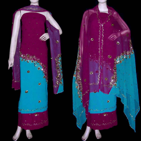 BURGUNDY-TURQUOISE GEORGETTE CREPE UNSTITCHED SALWAR KAMEEZ SUIT DRESS MATERIAL HEAVY DUPATTA ZARI & SEQUINS WORK LADIES DEN - Ladies Den