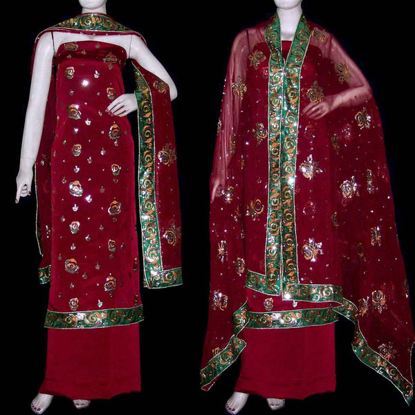 MAROON CREPE UNSTITCHED SALWAR KAMEEZ SUIT DRESS MATERIAL HEAVY DUPATTA RESHAM & SEQUINS WORK LADIES DEN - Ladies Den