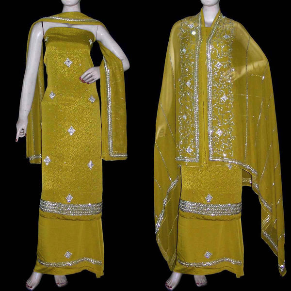 YELLOW GREEN JACQUARD CREPE UNSTITCHED SALWAR KAMEEZ SUIT DRESS MATERIAL KUNDAN & SEQUINS WORK LADIES DEN - Ladies Den