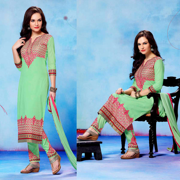 PALE MINT GREEN COTTON UNSTITCHED LONG SALWAR KAMEEZ SUIT DRESS MATERIAL w RESHAM EMBR LADIES DEN - Ladies Den