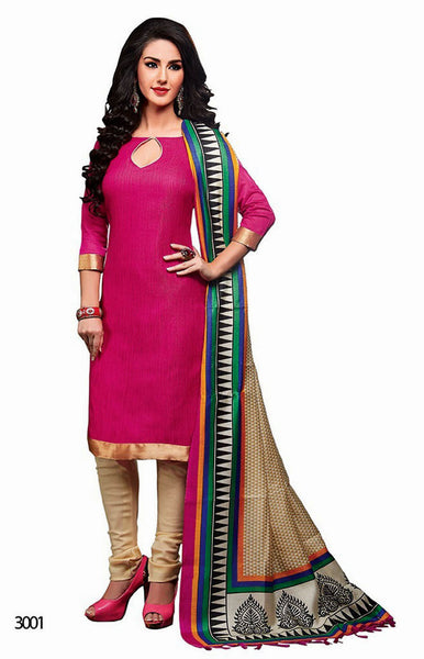 DEEPPINK-BEIGE JUTE SILK UNSTITCHED SALWAR KAMEEZ SUIT DRESS MATERIAL PRINTED BHAGALPURI DUPATTA LADIES DEN - Ladies Den