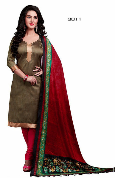 01ee173af7 ECRUBROWN-RED JUTE SILK UNSTITCHED SALWAR KAMEEZ SUIT DRESS MATERIAL  PRINTED BHAGALPURI DUPATTA LADIES DEN