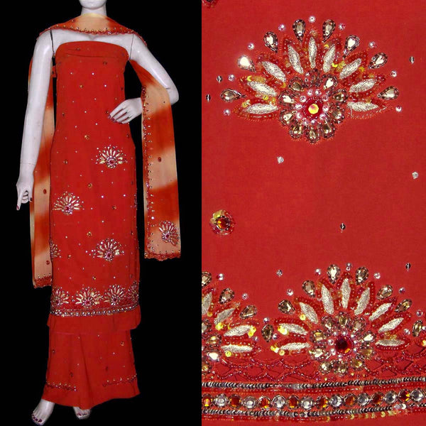 DARK ORANGE GEORGETTE CREPE UNSTITCHED SALWAR KAMEEZ SUIT DRESS MATERIAL KUNDAN & SEQUINS WORK LADIES DEN - Ladies Den