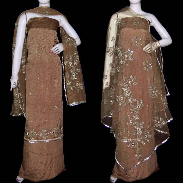 BROWN JACQUARD CHINON CREPE UNSTITCHED SALWAR KAMEEZ SUIT DRESS MATERIAL HEAVY DUPATTA KUNDAN WORK LADIES DEN - Ladies Den