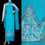 SKY BLUE GEORGETTE UNSTITCHED SALWAR KAMEEZ SUIT DRESS MATERIAL HEAVY DUPATTA KUNDAN WORK LADIES DEN - Ladies Den