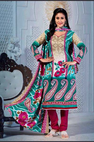 TEAL-DEEPPINK PRINTED PASHMINA WOOL UNSTITCHED SALWAR KAMEEZ SUIT DRESS MATERIAL LADIES DEN - Ladies Den
