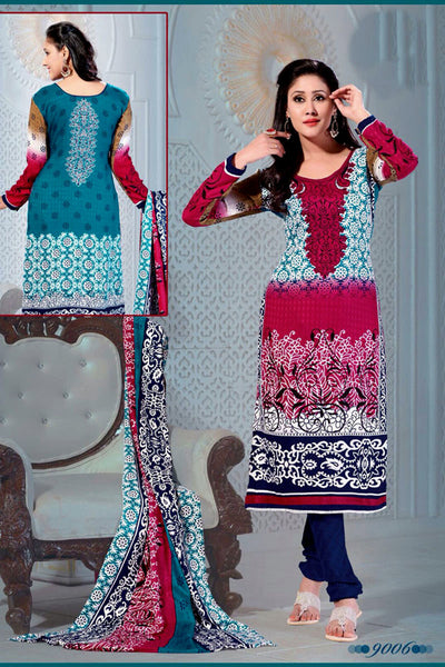 FIROZI-DEEPPINK PRINTED PASHMINA WOOL UNSTITCHED SALWAR KAMEEZ SUIT DRESS MATERIAL LADIES DEN - Ladies Den