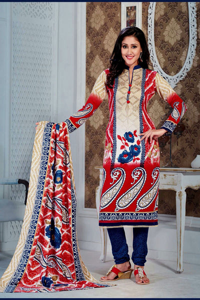 RED-DARK NAVY BLUE PRINTED PASHMINA WOOL UNSTITCHED SALWAR KAMEEZ SUIT DRESS MATERIAL LADIES DEN - Ladies Den