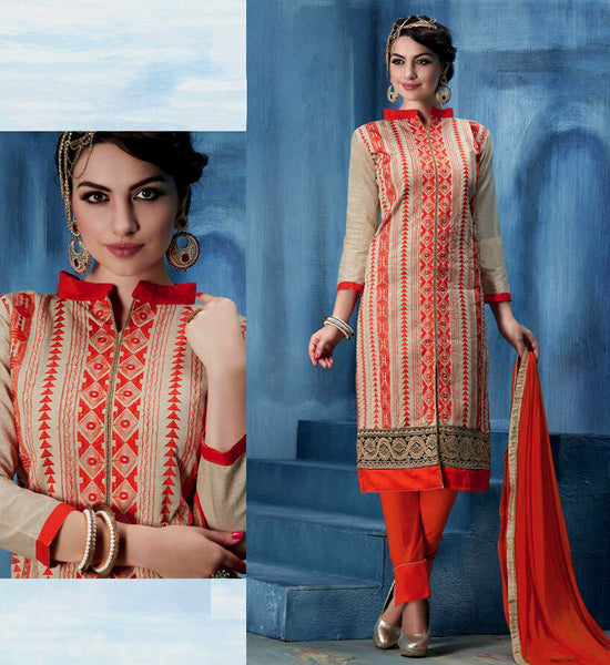 DEEPBEIGE-ORANGE CHANDERI SILK UNSTITCHED SALWAR KAMEEZ SUIT DRESS MATERIAL w EMBR LADIES DEN - Ladies Den