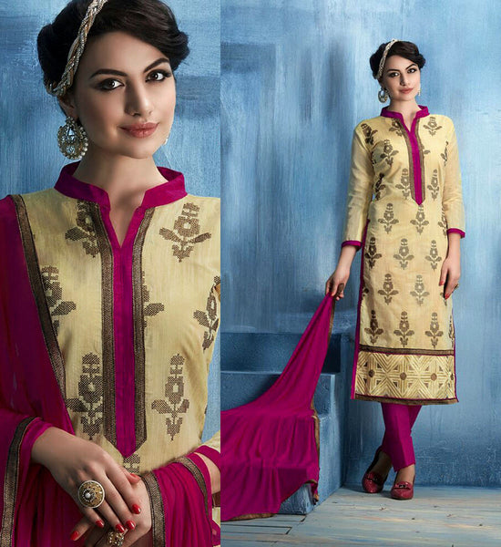 PALEYELLOW-DEEPPINK CHANDERI SILK UNSTITCHED SALWAR KAMEEZ SUIT DRESS MATERIAL w EMBR LADIES DEN - Ladies Den