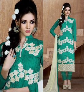 PERSIAN GREEN CHANDERI SILK UNSTITCHED LONG SALWAR KAMEEZ SUIT DRESS MATERIAL w EMBR LADIES DEN - Ladies Den