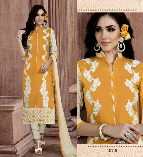YELLOW-CREAM CHANDERI SILK UNSTITCHED LONG SALWAR KAMEEZ SUIT DRESS MATERIAL w EMBR LADIES DEN - Ladies Den