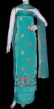 LT SEA GREEN CREPE UNSTITCHED SALWAR KAMEEZ SUIT DRESS MATERIAL HEAVY DUPATTA RESHAM & ZARI EMBR LADIES DEN - Ladies Den