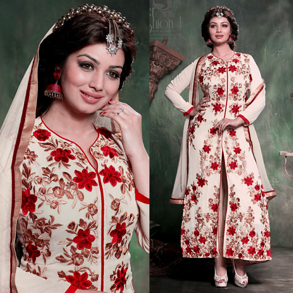 PALE ALMOND GEORGETTE UNSTITCHED LONG SALWAR KAMEEZ SUIT DRESS MATERIAL RESHAM EMBR LADIES DEN - Ladies Den