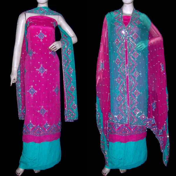 DEEPPINK-TURQUOISE PURE CREPE UNSTITCHED SALWAR KAMEEZ SUIT DRESS MATERIAL PURE DUPATTA HEAVY WORK LADIES DEN - Ladies Den