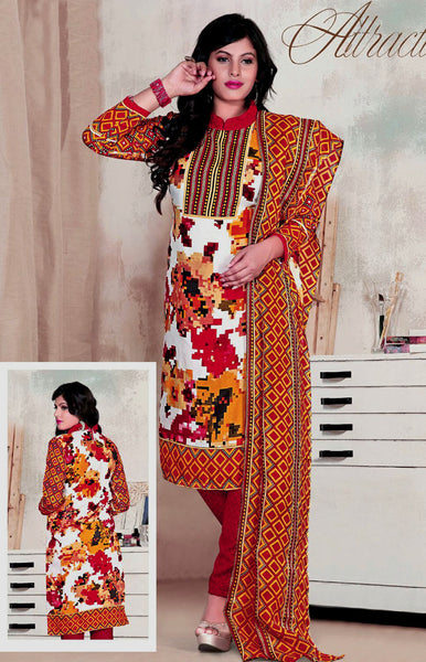 OFFWHITE-RED PRINTED BLENDED COTTON SILK UNSTITCHED SALWAR KAMEEZ SUIT DRESS MATERIAL LADIES DEN - Ladies Den