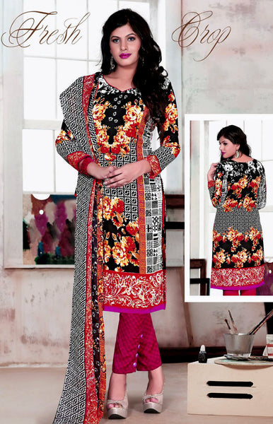 BLACK-VIOLETRED PRINTED BLENDED COTTON SILK UNSTITCHED SALWAR KAMEEZ SUIT DRESS MATERIAL LADIES DEN - Ladies Den