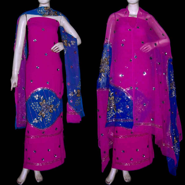 DEEPPINK-MEDBLUE GEORGETTE CREPE UNSTITCHED SALWAR KAMEEZ SUIT DRESS MATERIAL HEAVY DUPATTA KUNDAN & SEQUINS WORK LADIES DEN - Ladies Den