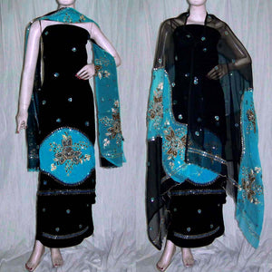 BLACK-TURQUOISE GEORGETTE CREPE UNSTITCHED SALWAR KAMEEZ SUIT DRESS MATERIAL HEAVY DUPATTA KUNDAN & SEQUINS WORK LADIES DEN - Ladies Den