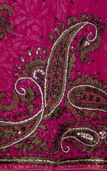 VIOLET RED GOLDEN EMBOSSED GEORGETTE UNSTITCHED PATIALA SALWAR KAMEEZ SUIT DRESS MATERIAL KUNDAN WORK LADIES DEN - Ladies Den