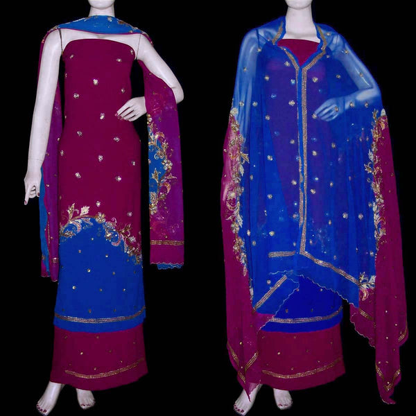 BURGUNDY-MEDBLUE GEORGETTE CREPE UNSTITCHED SALWAR KAMEEZ SUIT DRESS MATERIAL HEAVY DUPATTA ZARI & SEQUINS WORK LADIES DEN - Ladies Den