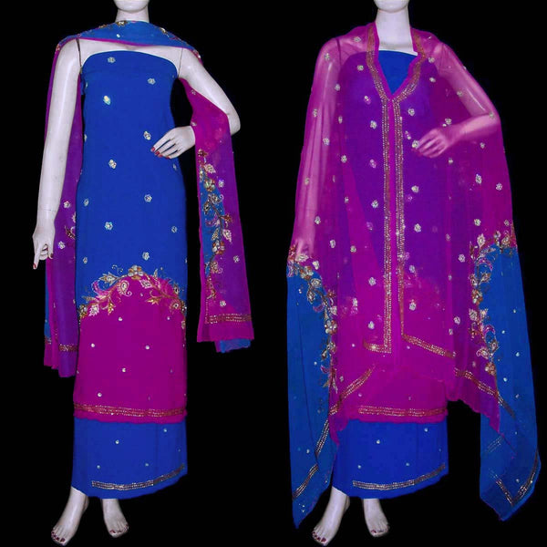 MEDBLUE-MAGENTA GEORGETTE CREPE UNSTITCHED SALWAR KAMEEZ SUIT DRESS MATERIAL HEAVY DUPATTA ZARI & SEQUINS WORK LADIES DEN - Ladies Den
