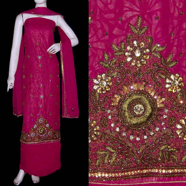 VIOLET RED GOLDEN EMBOSSED GEORGETTE UNSTITCHED PATIALA SALWAR KAMEEZ SUIT DRESS MATERIAL KUNDAN & BEADS WORK LADIES DEN - Ladies Den