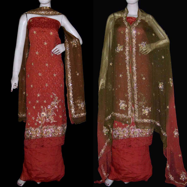 RUSTY BROWN JACQUARD CHINON CREPE UNSTITCHED PATIALA SALWAR KAMEEZ SUIT DRESS MATERIAL PURE DUPATTA ZARI & KUNDAN WORK LADIES DEN - Ladies Den