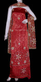 TERRACOTTA RED JACQUARD CREPE UNSTITCHED SALWAR KAMEEZ SUIT DRESS MATERIAL HEAVY DUPATTA KUNDAN & BEADS WORK LADIES DEN - Ladies Den