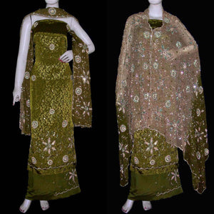 DARK OLIVE DRAB JACQUARD CREPE UNSTITCHED SALWAR KAMEEZ SUIT DRESS MATERIAL HEAVY DUPATTA KUNDAN & BEADS WORK LADIES DEN - Ladies Den