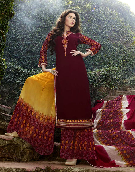 MAROON-YELLOW PRINTED GEORGETTE UNSTITCHED LONG SALWAR KAMEEZ PALLAZO SUIT DRESS MATERIAL w EMBR LADIES DEN - Ladies Den