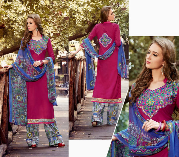 DEEPPINK-BLUE PRINTED COTTON UNSTITCHED LONG SALWAR KAMEEZ SUIT DRESS MATERIAL w EMBR LADIES DEN - Ladies Den