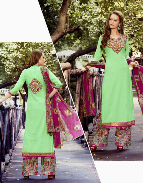PASTEL GREEN-DEEPPINK PRINTED COTTON UNSTITCHED LONG SALWAR KAMEEZ SUIT DRESS MATERIAL w EMBR LADIES DEN - Ladies Den