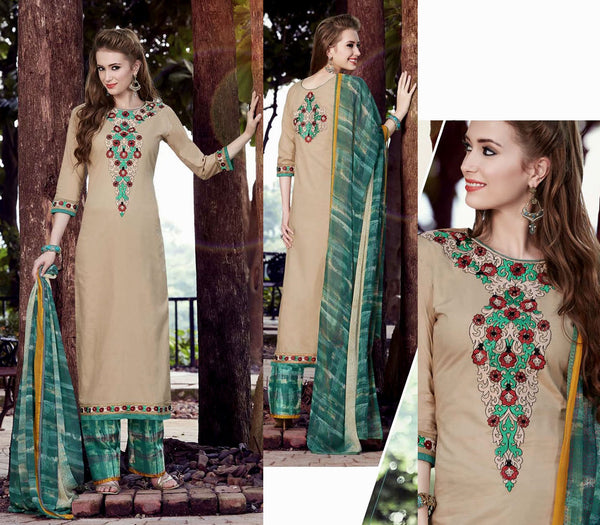 FAUN-GREEN PRINTED COTTON UNSTITCHED LONG SALWAR KAMEEZ SUIT DRESS MATERIAL w EMBR LADIES DEN - Ladies Den