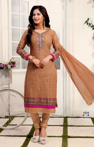 LT COPPER BROWN CHIKAN GEORGETTE UNSTITCHED SALWAR KAMEEZ SUIT DRESS MATERIAL w EMBR LADIES DEN - Ladies Den