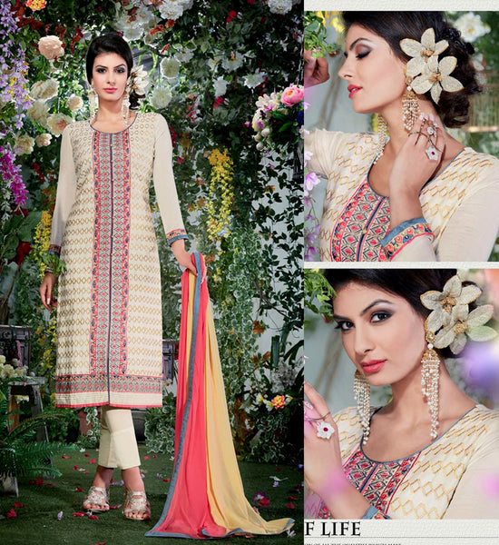 CREAM SATIN COTTON UNSTITCHED LONG SALWAR KAMEEZ SUIT DRESS MATERIAL w EMBR LADIES DEN - Ladies Den