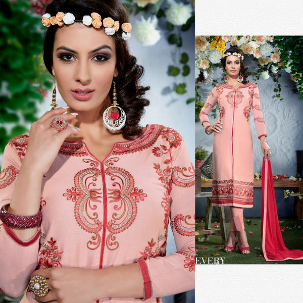PEACH PINK SATIN COTTON UNSTITCHED LONG SALWAR KAMEEZ SUIT DRESS MATERIAL w EMBR LADIES DEN - Ladies Den