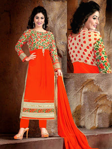 ORANGE GEORGETTE UNSTITCHED LONG SALWAR KAMEEZ SUIT DRESS MATERIAL RESHAM EMBR LADIES DEN - Ladies Den