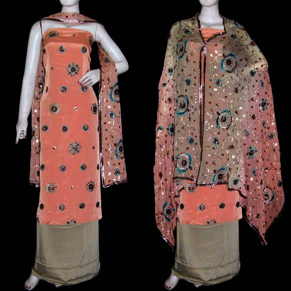 SALMON-CARDAMOM CREPE UNSTITCHED SALWAR KAMEEZ SUIT DRESS MATERIAL HEAVY DUPATTA SEQUINS WORK LADIES DEN - Ladies Den
