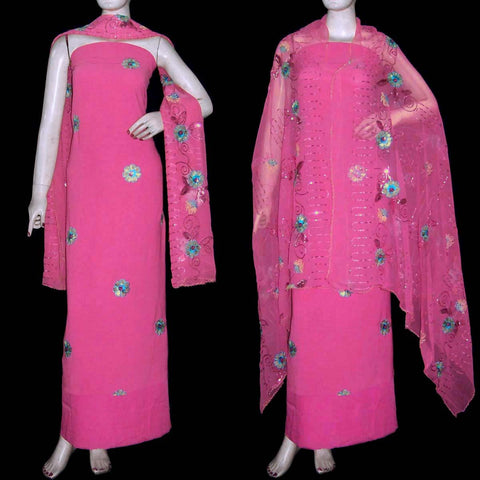 HOT PINK GEORGETTE CREPE UNSTITCHED SALWAR KAMEEZ SUIT DRESS MATERIAL HEAVY DUPATTA RESHAM EMBR LADIES DEN - Ladies Den