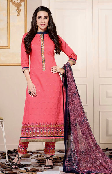LIGHT CARROT PINK COTTON UNSTITCHED LONG SALWAR KAMEEZ SUIT MATERIAL w EMBR LADIES DEN - Ladies Den