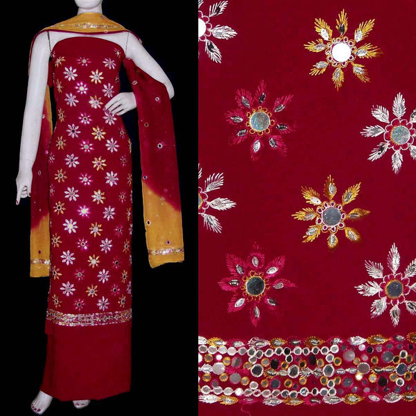MAROON RED GRGT CREPE UNSTITCHED SALWAR KAMEEZ SUIT DRESS MATERIAL PURE DUPATTA MIRROR WORK LADIES DEN - Ladies Den