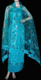 TURQUOISE JACQUARD CREPE UNSTITCHED SALWAR KAMEEZ SUIT DRESS MATERIAL HEAVY DUPATTA RIBBON WORK LADIES DEN - Ladies Den