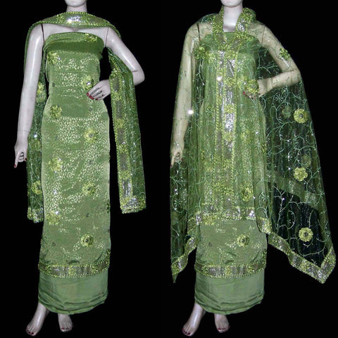 PISTACHIO GREEN JACQUARD CREPE UNSTITCHED SALWAR KAMEEZ SUIT DRESS MATERIAL HEAVY DUPATTA RIBBON WORK LADIES DEN - Ladies Den