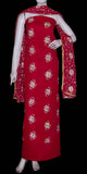 RED MICRO CHIFFON UNSTITCHED SALWAR KAMEEZ SUIT DRESS MATERIAL HEAVY DUPATTA ZARI EMBR LADIES DEN - Ladies Den
