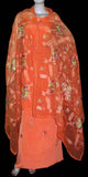 PASTEL ORANGE CREPE UNSTITCHED SALWAR KAMEEZ SUIT DRESS MATERIAL HEAVY DUPATTA RESHAM EMBR LADIES DEN - Ladies Den