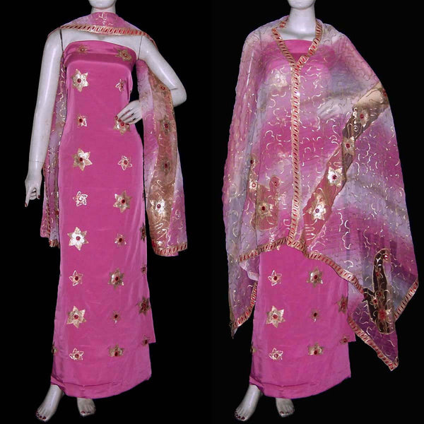 LIGHT VIOLET RED CREPE UNSTITCHED SALWAR KAMEEZ SUIT DRESS MATERIAL HEAVY DUPATTA PATCH & SEQUINS WORK LADIES DEN - Ladies Den