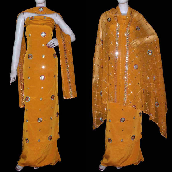DARK YELLOW CREPE UNSTITCHED SALWAR KAMEEZ SUIT DRESS MATERIAL HEAVY DUPATTA RESHAM & SEQUINS EMBR LADIES DEN - Ladies Den