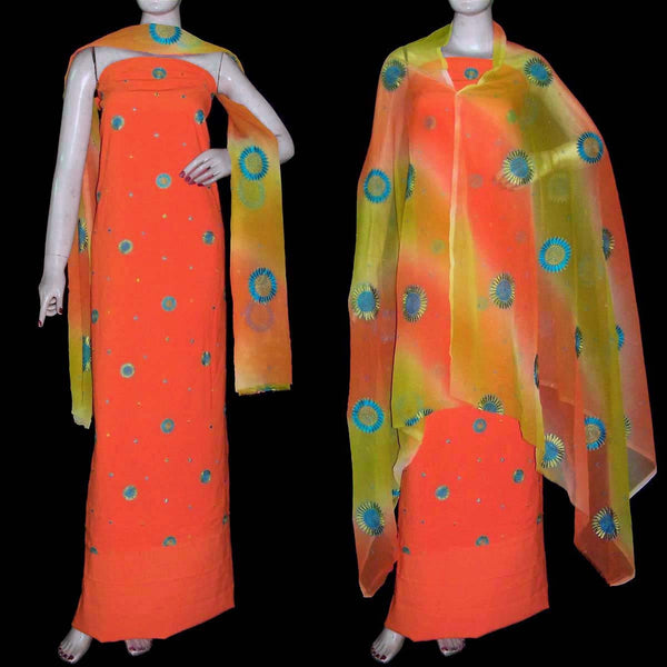 ORANGE GEORGETTE CREPE UNSTITCHED SALWAR KAMEEZ SUIT DRESS MATERIAL HEAVY DUPATTA RESHAM EMBR LADIES DEN - Ladies Den
